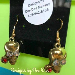 Gold Tone The Skeleton Crew Rose Drop Earrings